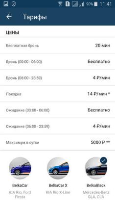 Тарифы на услуги каршеринга в компании BelkaCar
